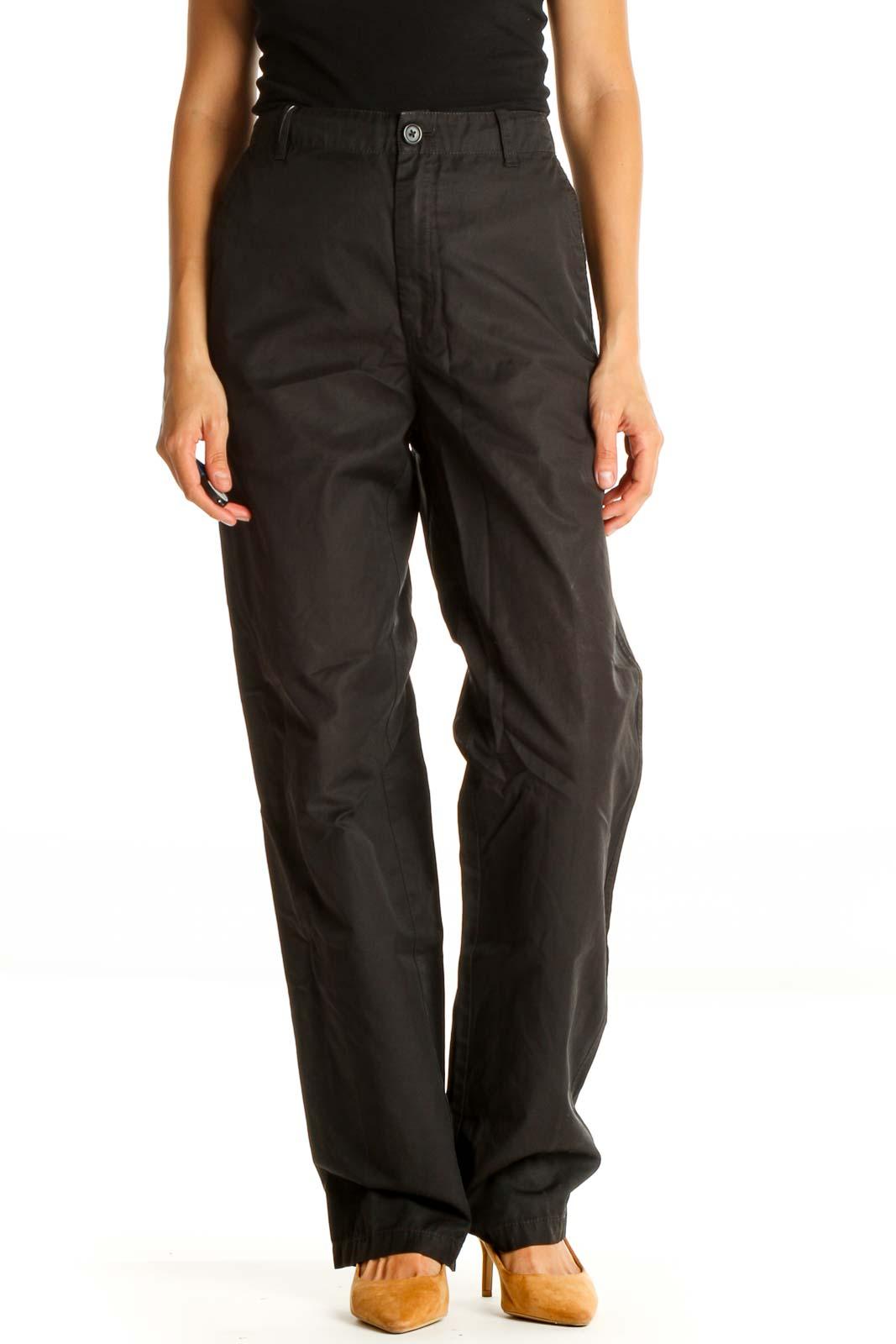 Black Solid Activewear Pants Front