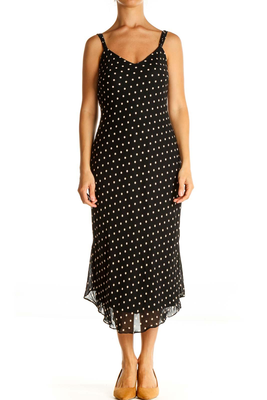 Black Polka Dot Bohemian Sheath Dress Front