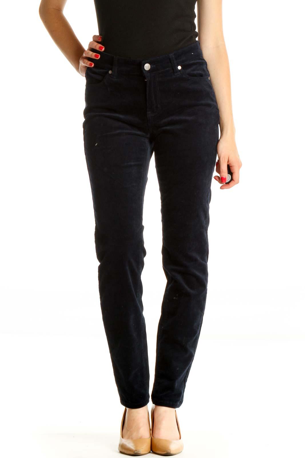 Blue Velour Skinny Jeans Front
