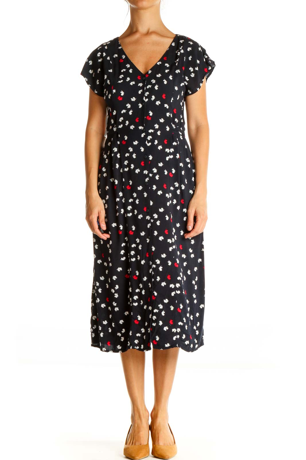 Blue Floral Print Classic Fit & Flare Dress Front