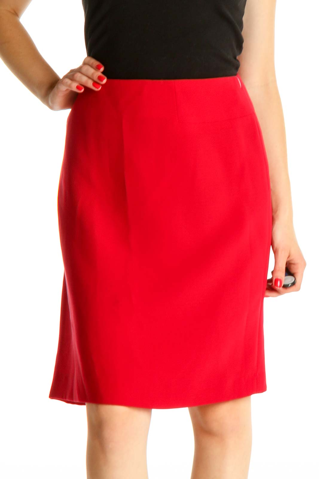 Red Solid Retro Pencil Skirt Front