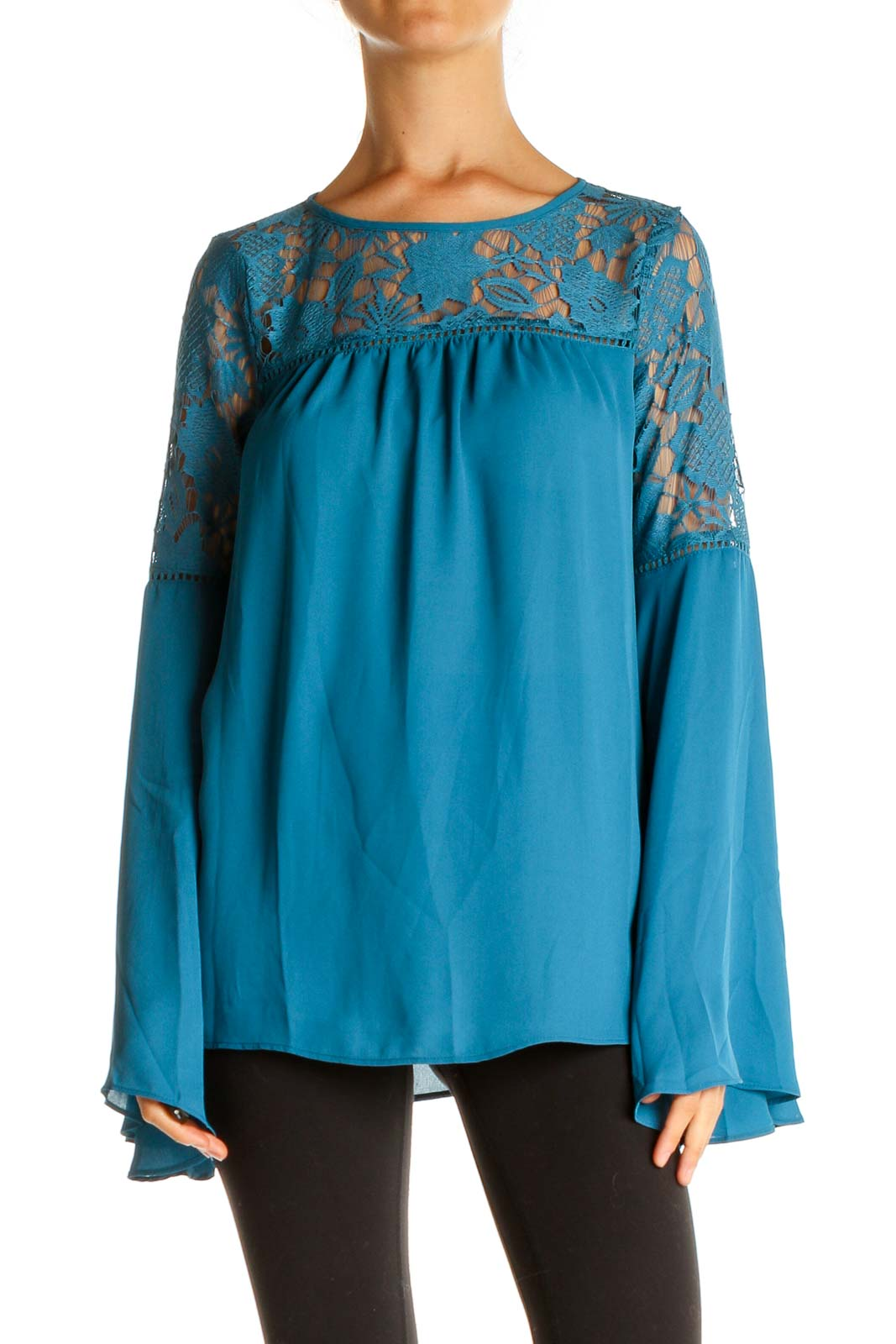 Blue Lace Retro Blouse Front