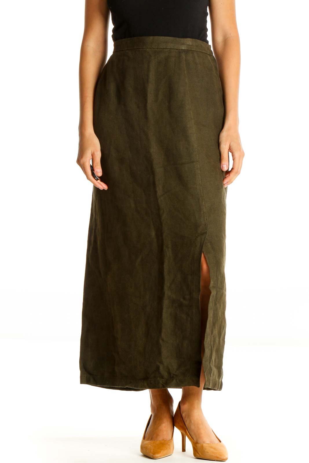 Green Casual A-Line Skirt Front