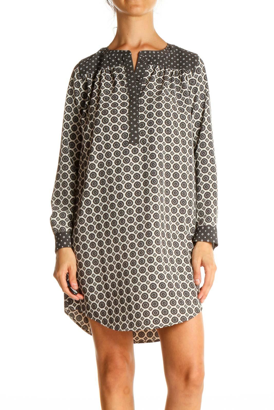 Gray Geometric Print Shift Dress Front