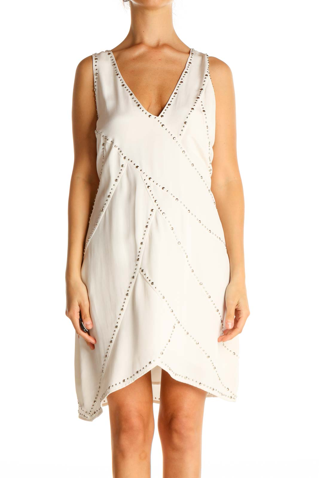 Beige Textured Holiday A-Line Dress Front
