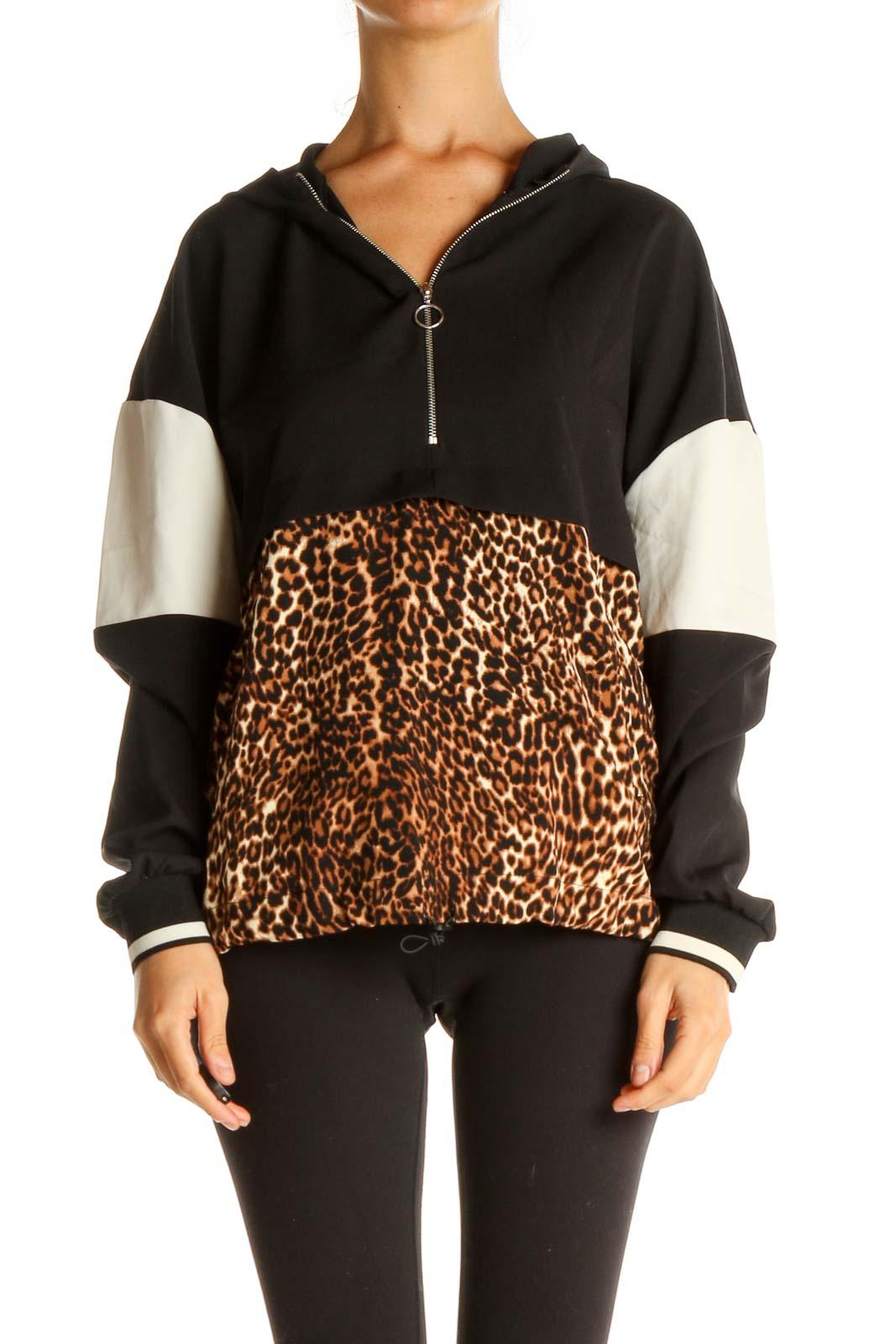 Black Printed Sweatshirt Front