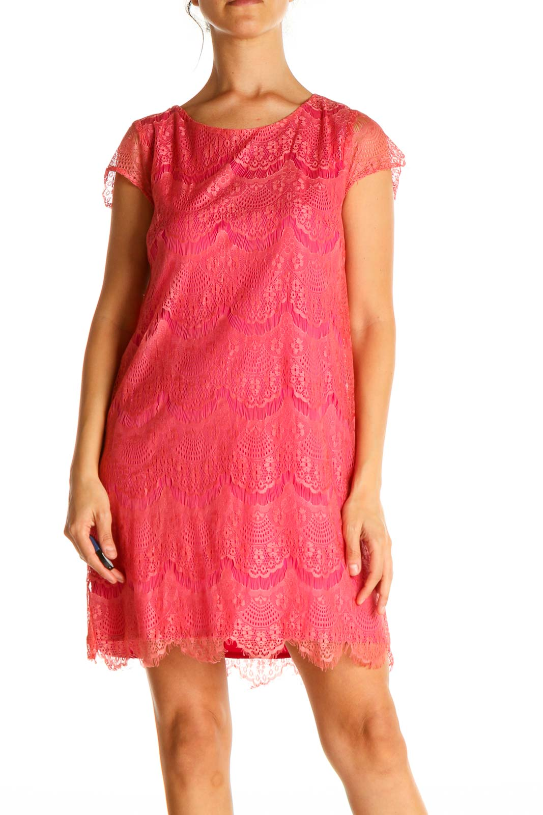 Pink Lace Retro A-Line Dress Front