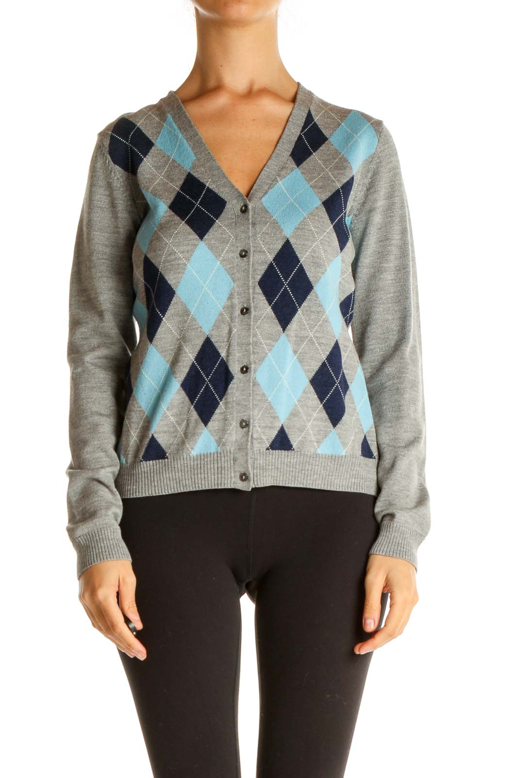 Gray Argyle Print All Day Wear Sweater Front