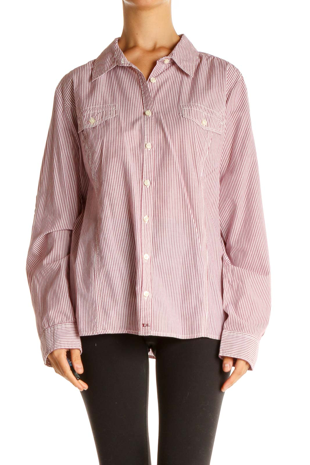 Pink Striped Formal Shirt Front