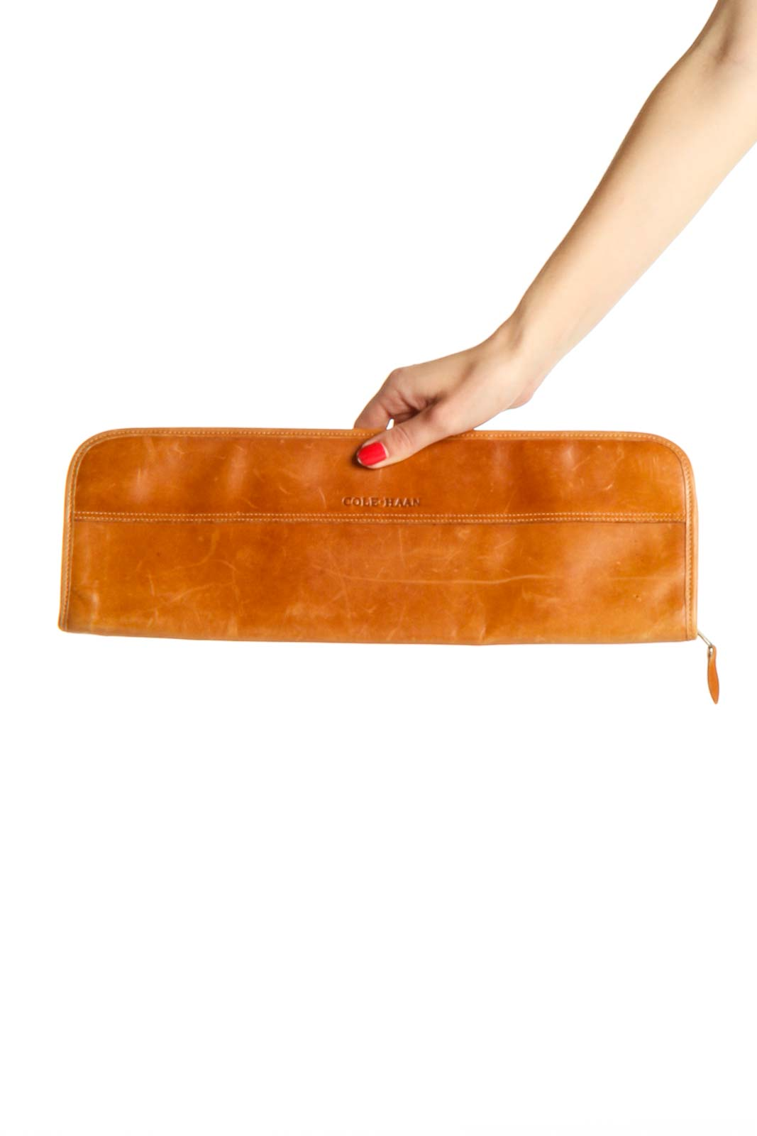 Brown Leather Clutch Bag Front