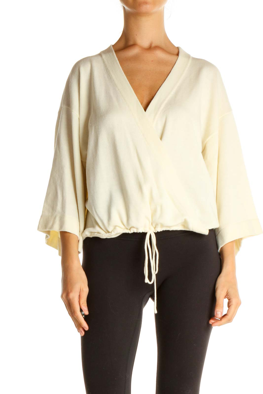 Beige Solid All Day Wear Blouse Front