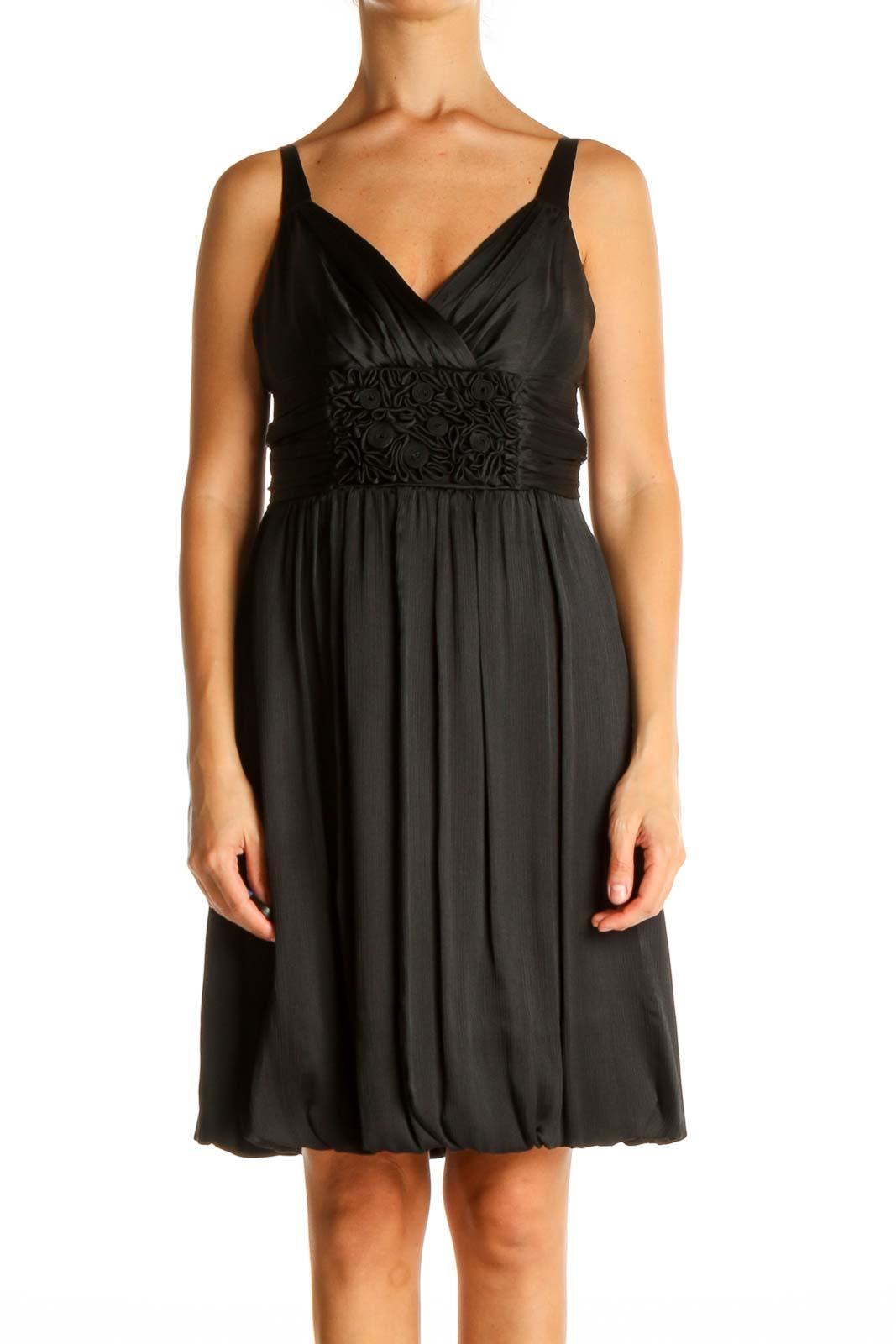 Black Solid Cocktail Fit & Flare Dress Front
