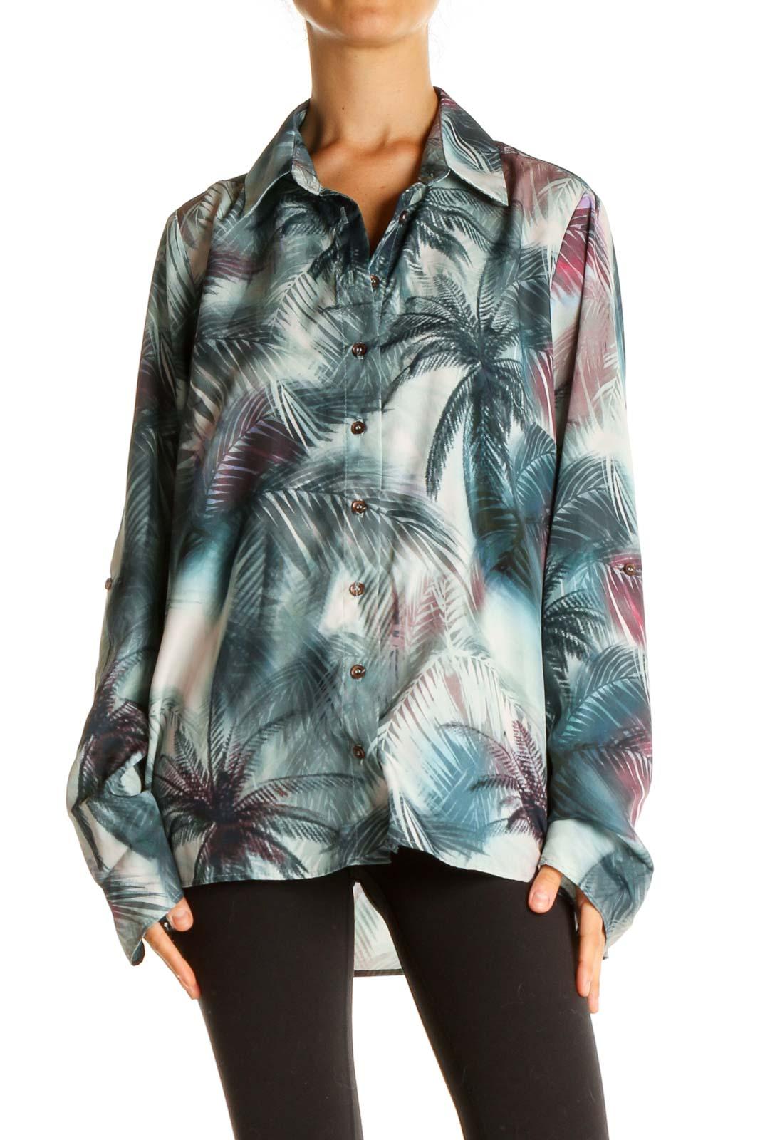 Green Tropical Print Bohemian Shirt Front