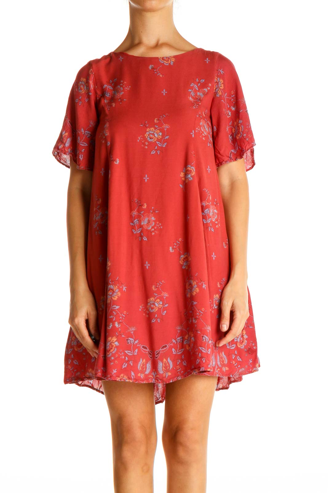 Red Floral Print Day Shift Dress Front