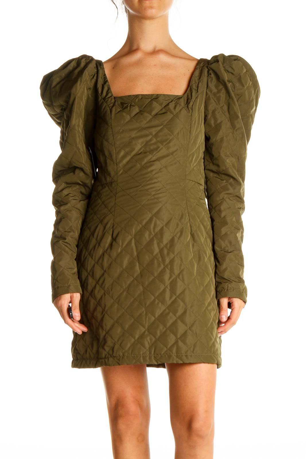 Green Solid Retro Sheath Dress Front