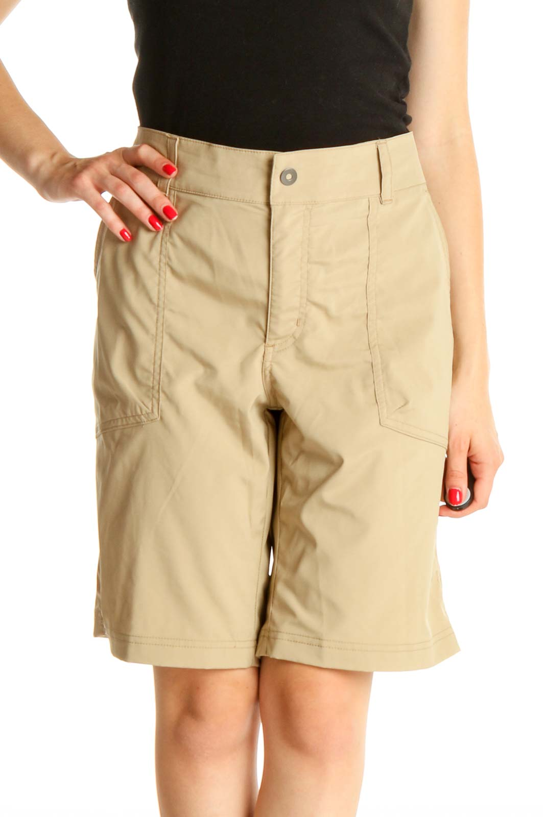 Beige Solid All Day Wear Shorts Front
