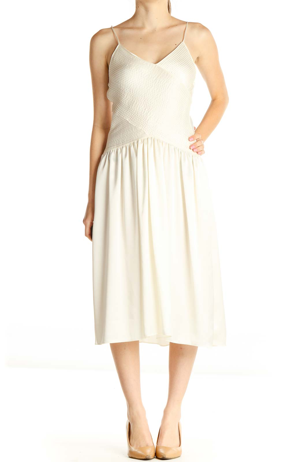 White Solid Classic Dress Front