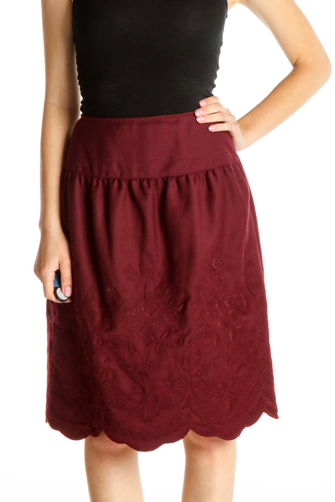 Purple Solid Holiday A-Line Skirt Front