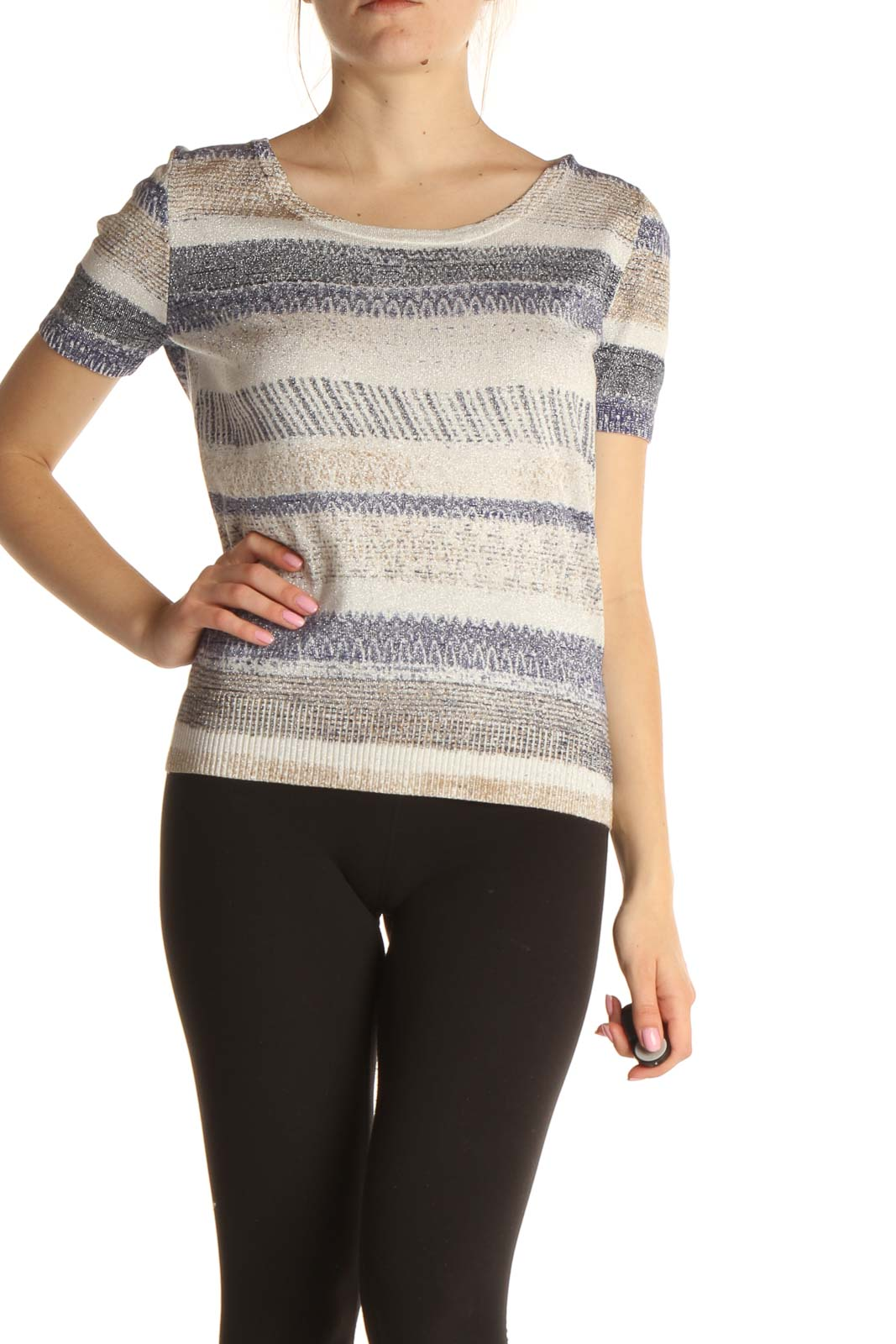 Beige All Day Wear Sweater Front