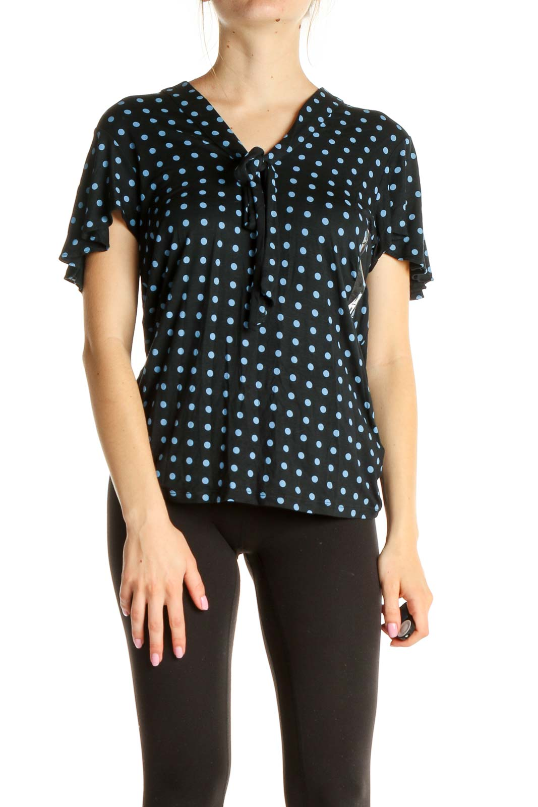Black Polka Dot All Day Wear Blouse Front