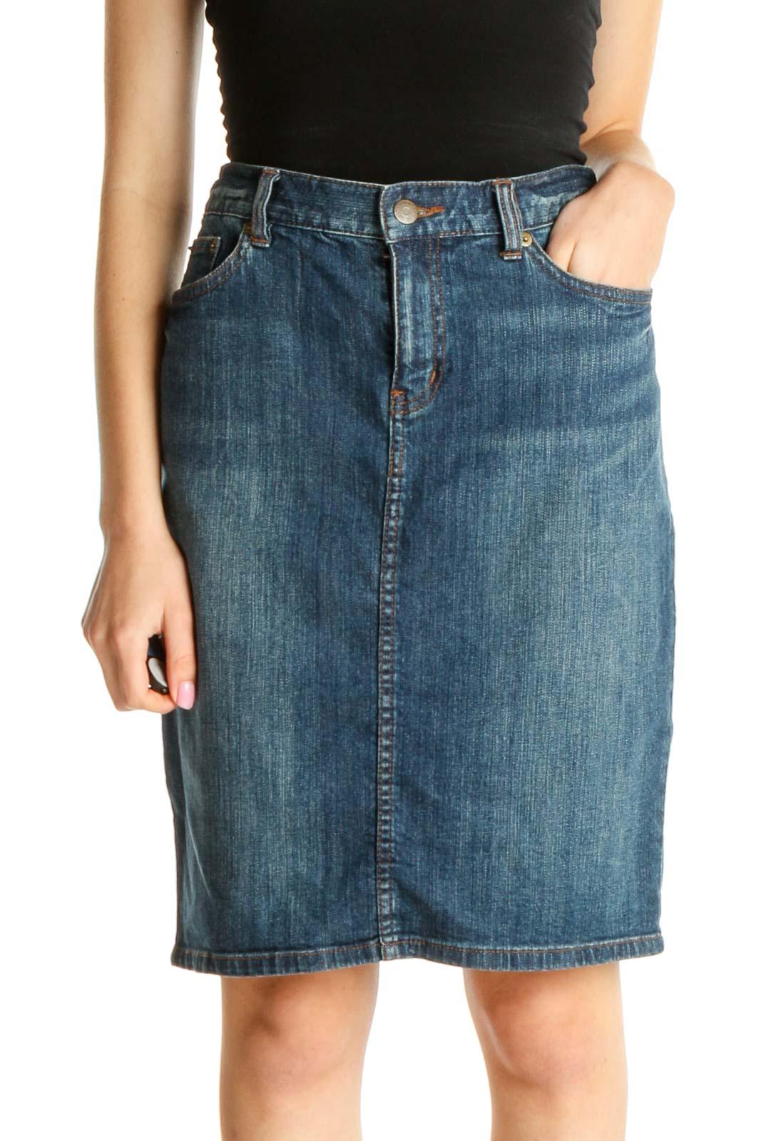 Blue Denim Pencil Skirt Front