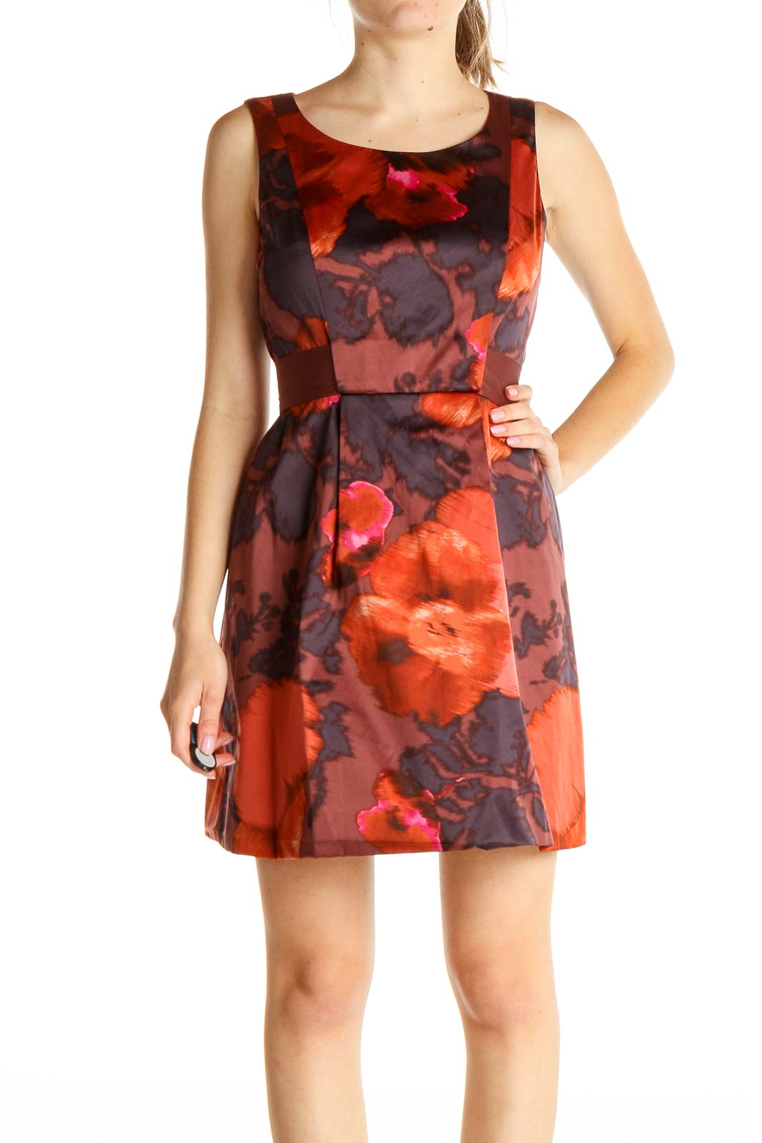 Red Floral Print Day Fit & Flare Dress Front