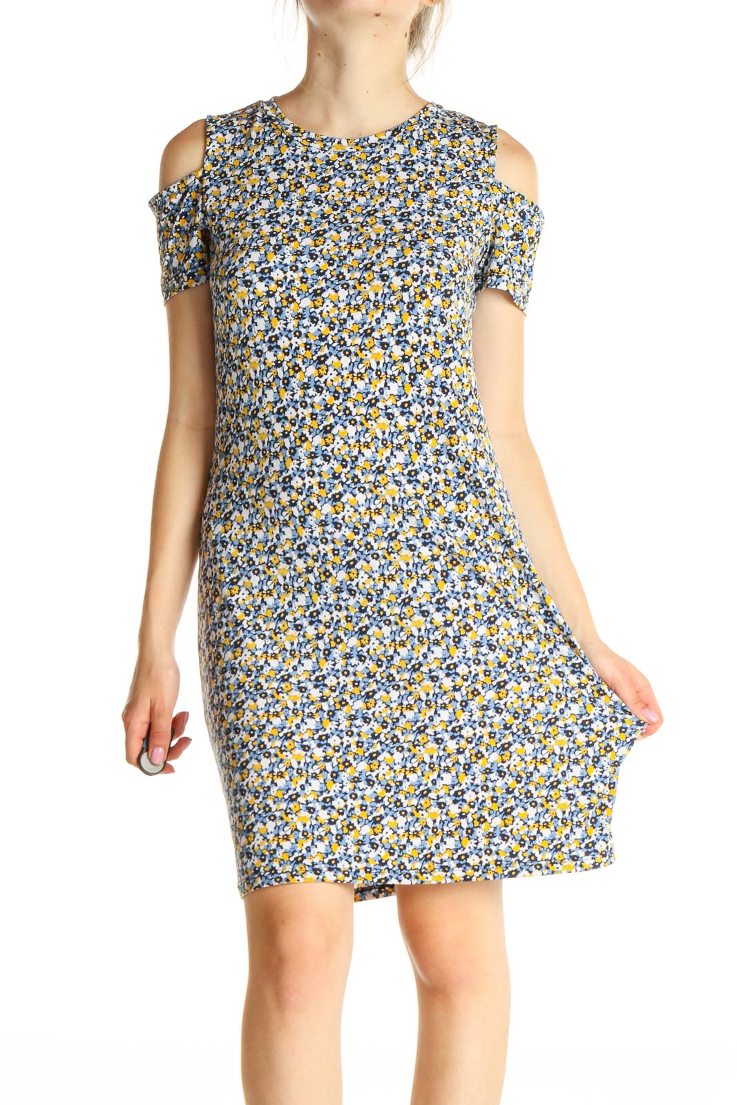 Blue Floral Print Day Sheath Dress Front