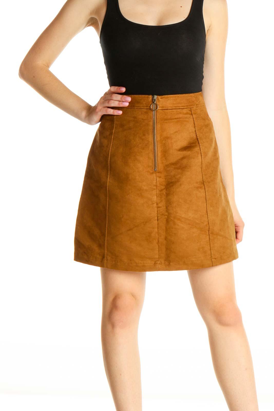 Brown Brunch A-Line Skirt Front