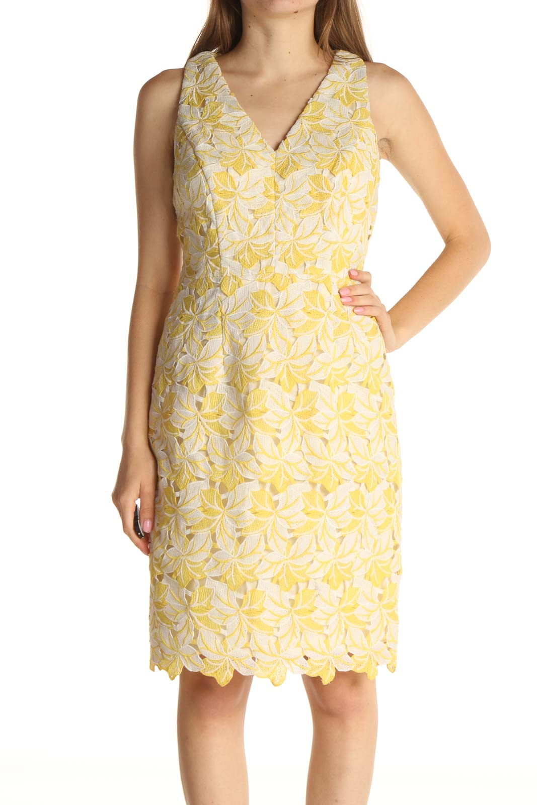 Yellow Floral Print Day Dress Front