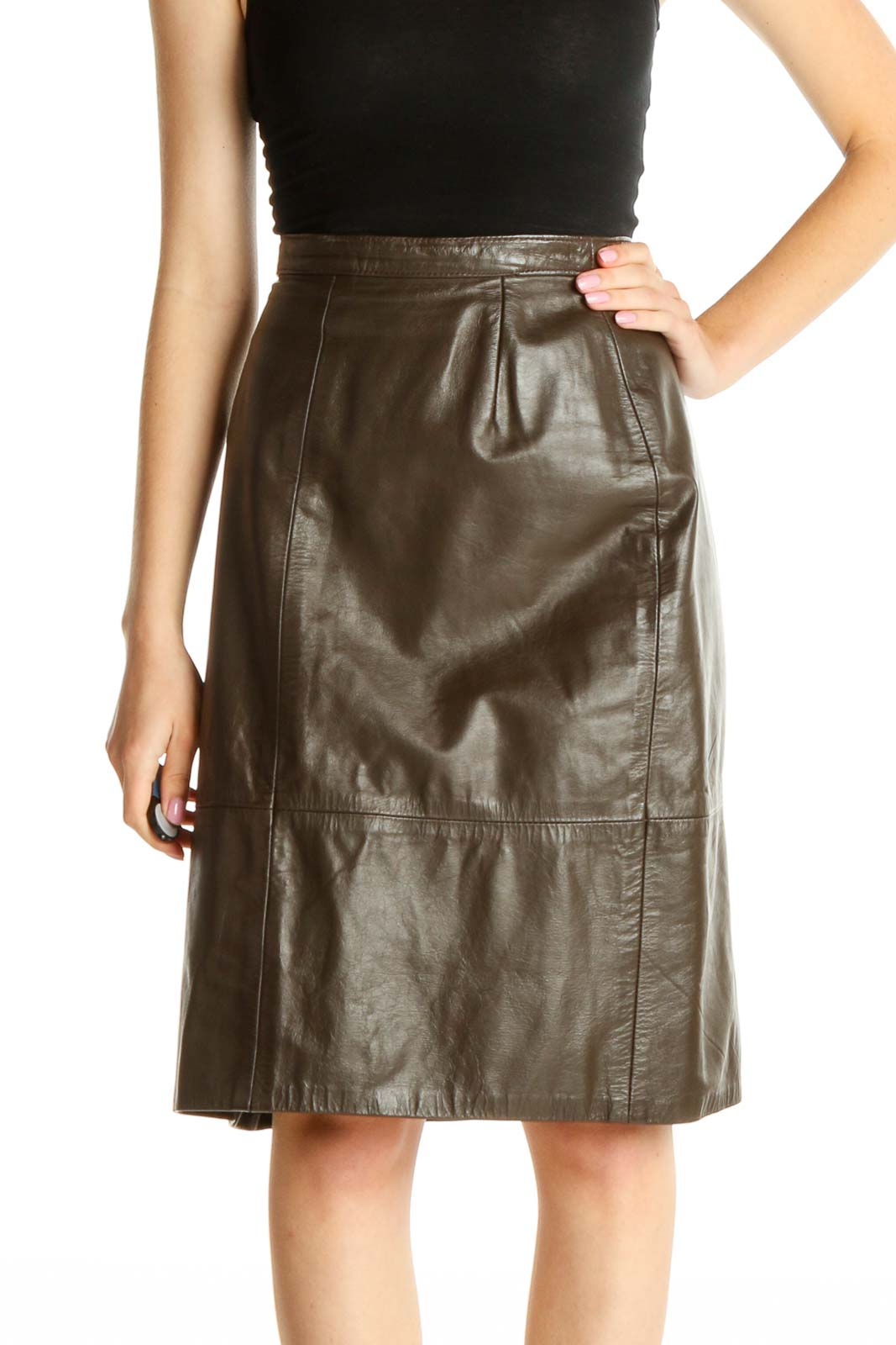 Brown Solid Brunch A-Line Leather Skirt Front