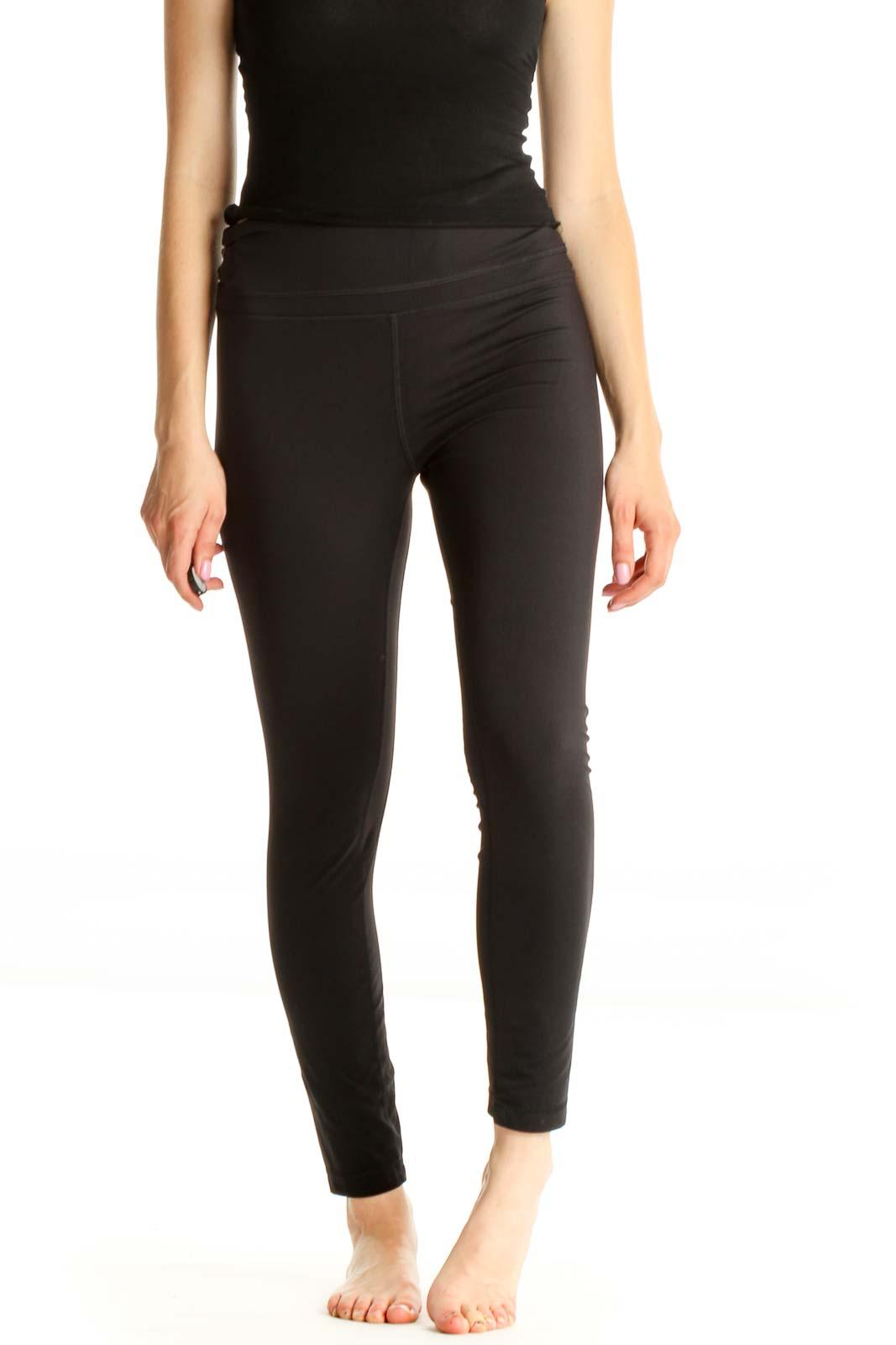 Black Casual Leggings Front