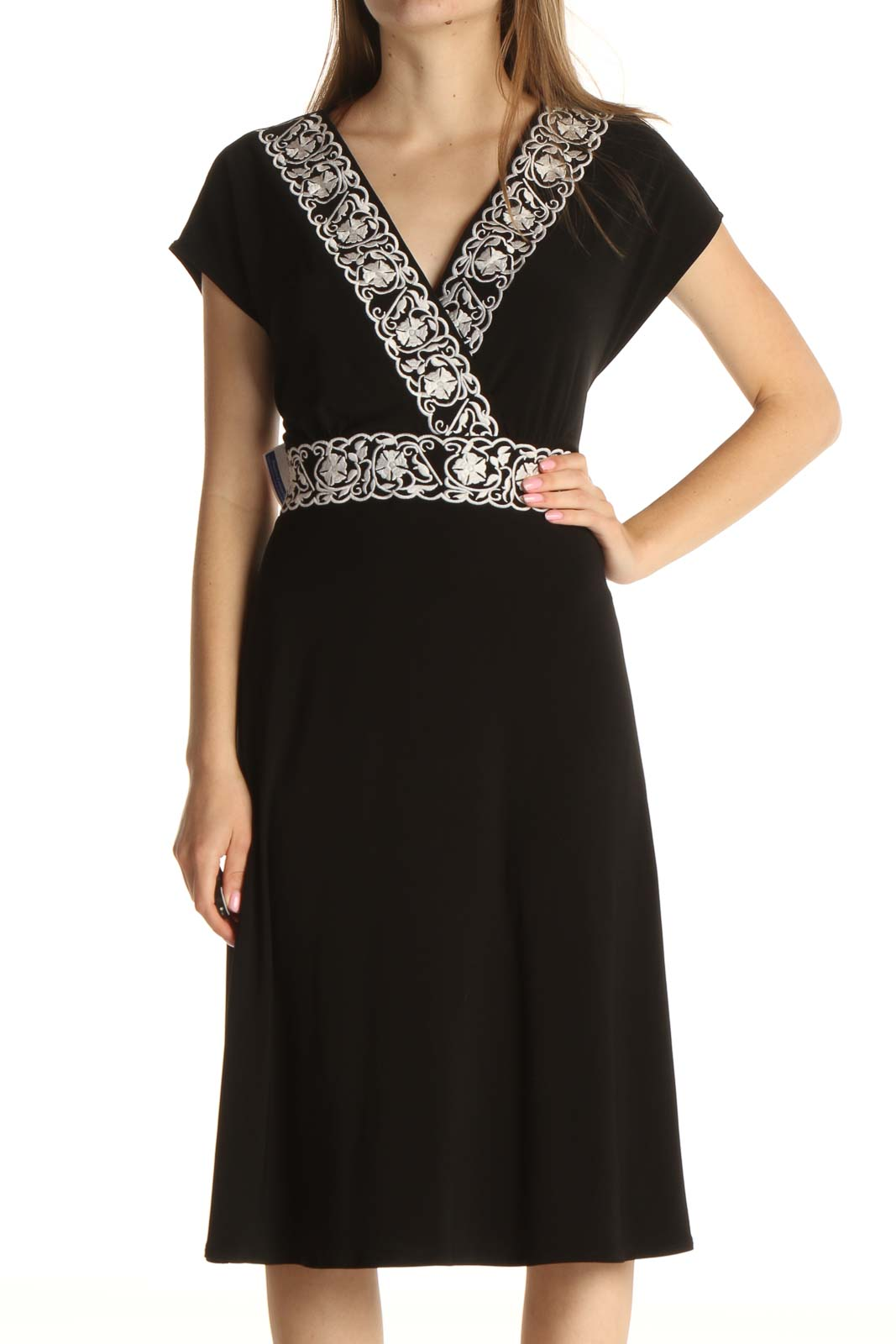Black Solid Bohemian Fit & Flare Dress Front