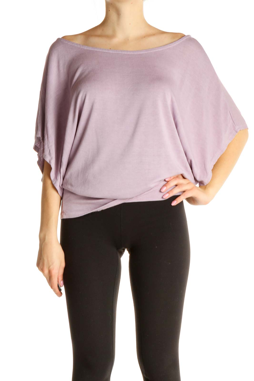 Pink Solid All Day Wear T-Shirt Front
