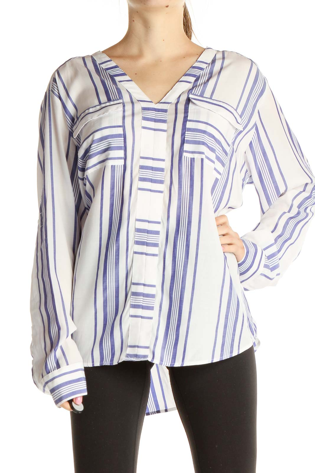 White Striped Blouse Front