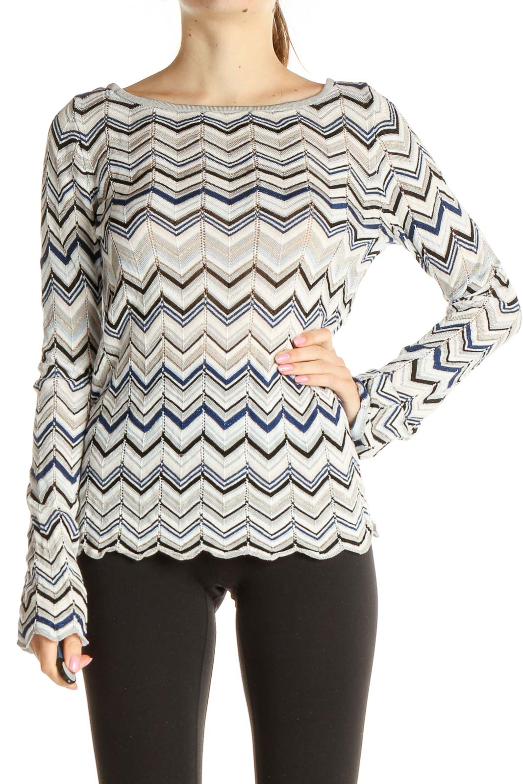 White Chevron All Day Wear Blouse Front