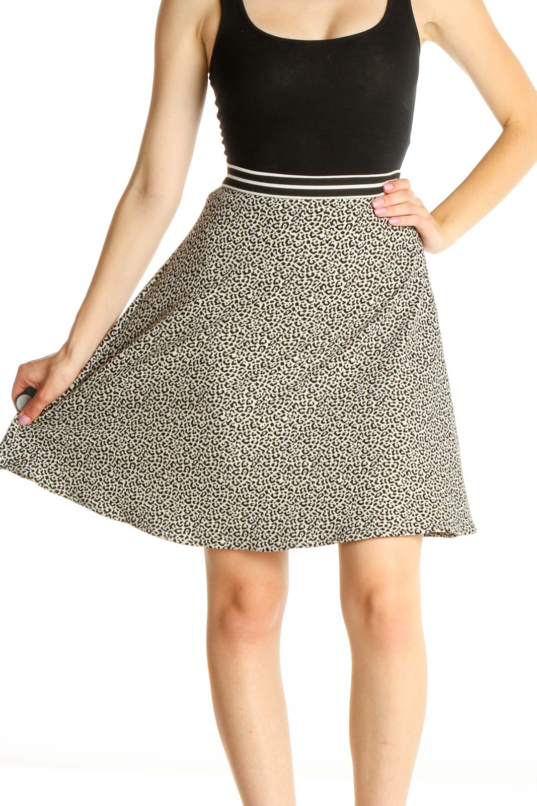 White Animal Print Chic A-Line Skirt Front