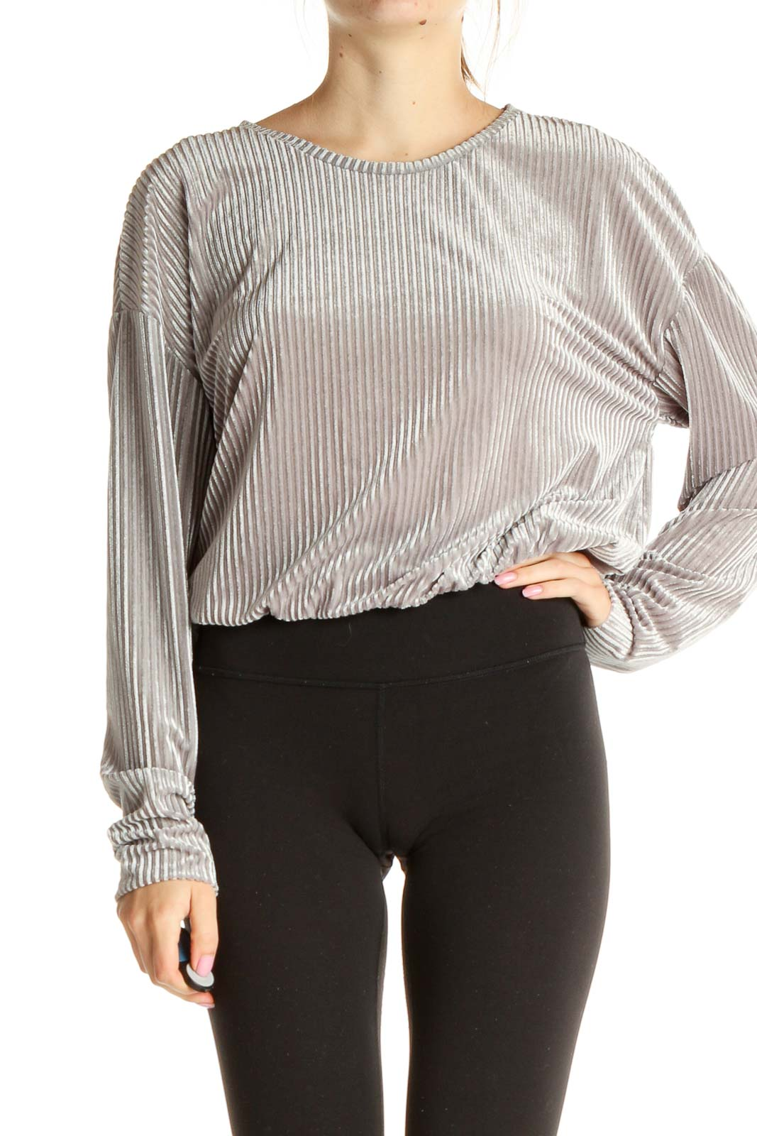Silver Textured Retro Blouse Front