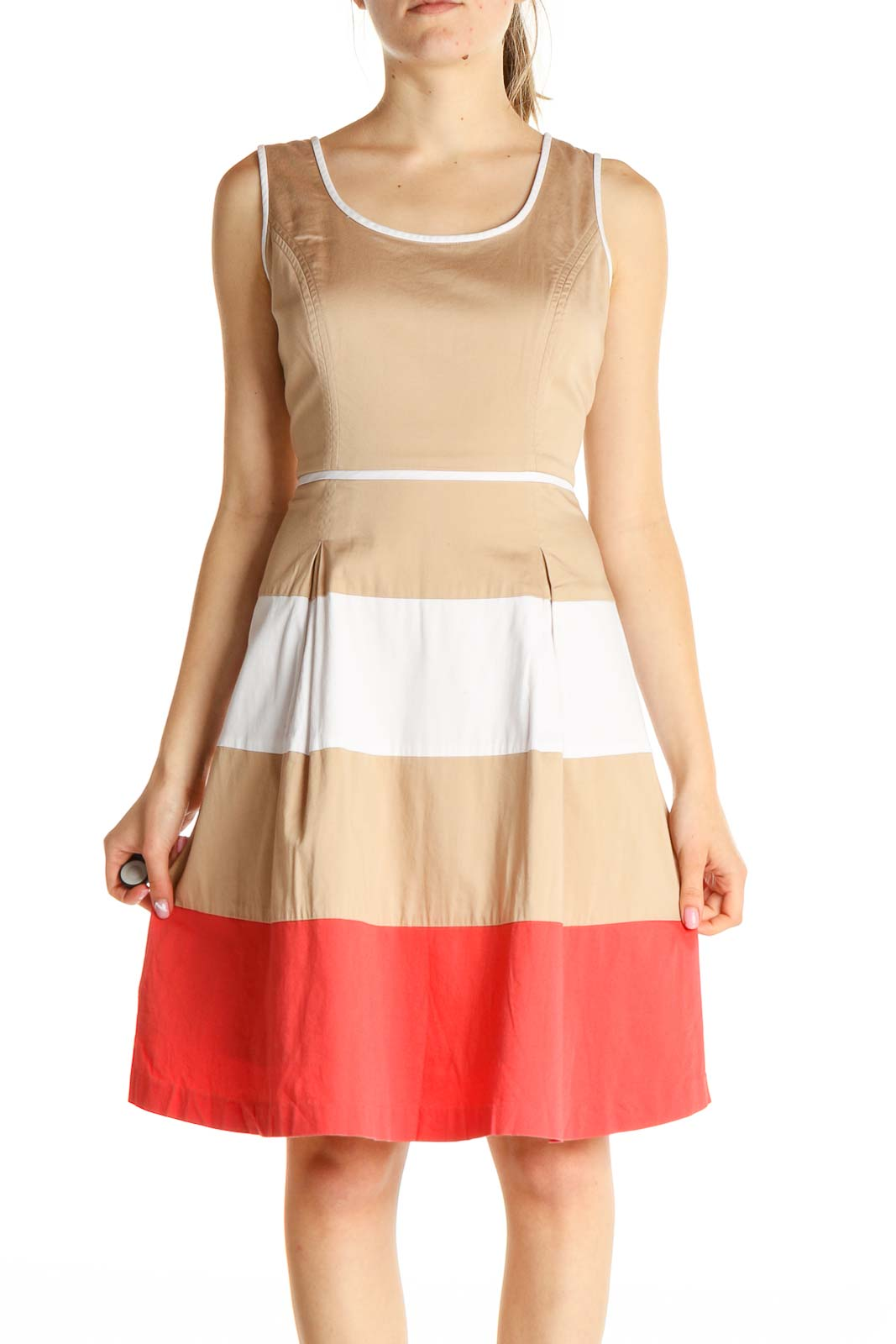 Beige Colorblock Fit & Flare Dress Front