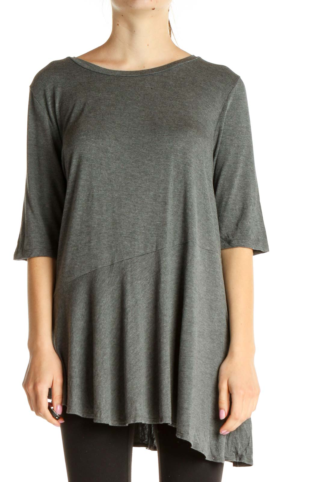 Gray Solid Casual T-Shirt Front