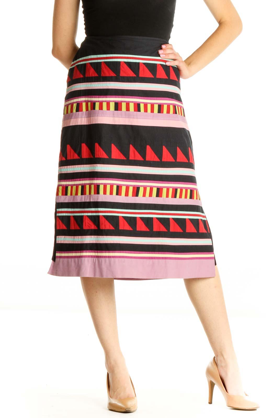 Black Aztec Print Bohemian A-Line Skirt Front