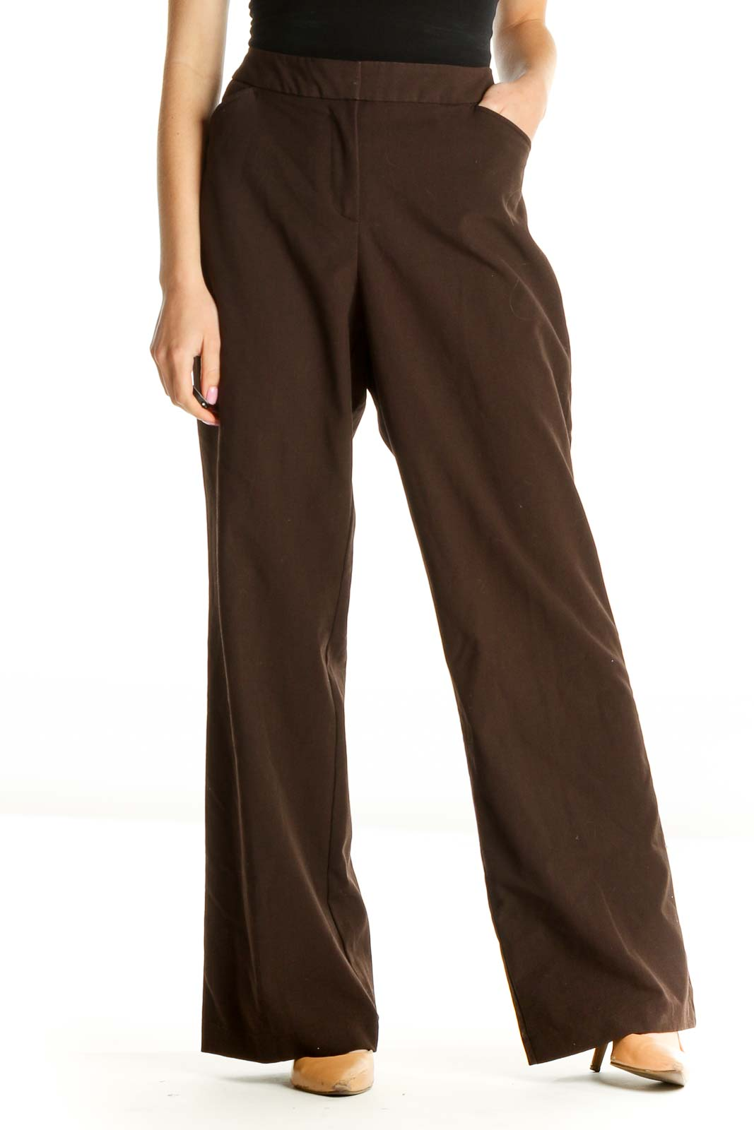 Brown Solid Retro Trousers Front