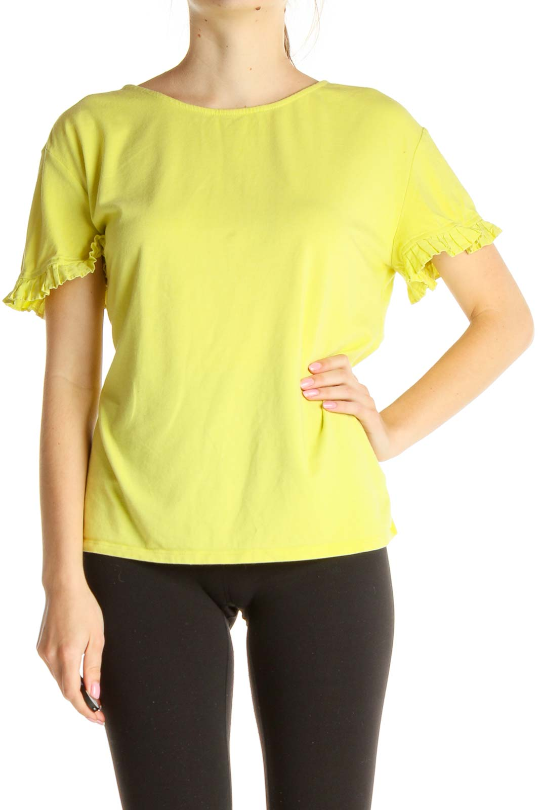Yellow Solid All Day Wear Blouse Front