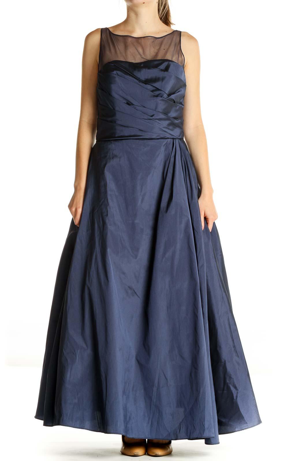 Blue Solid Formal Fit & Flare Dress Front