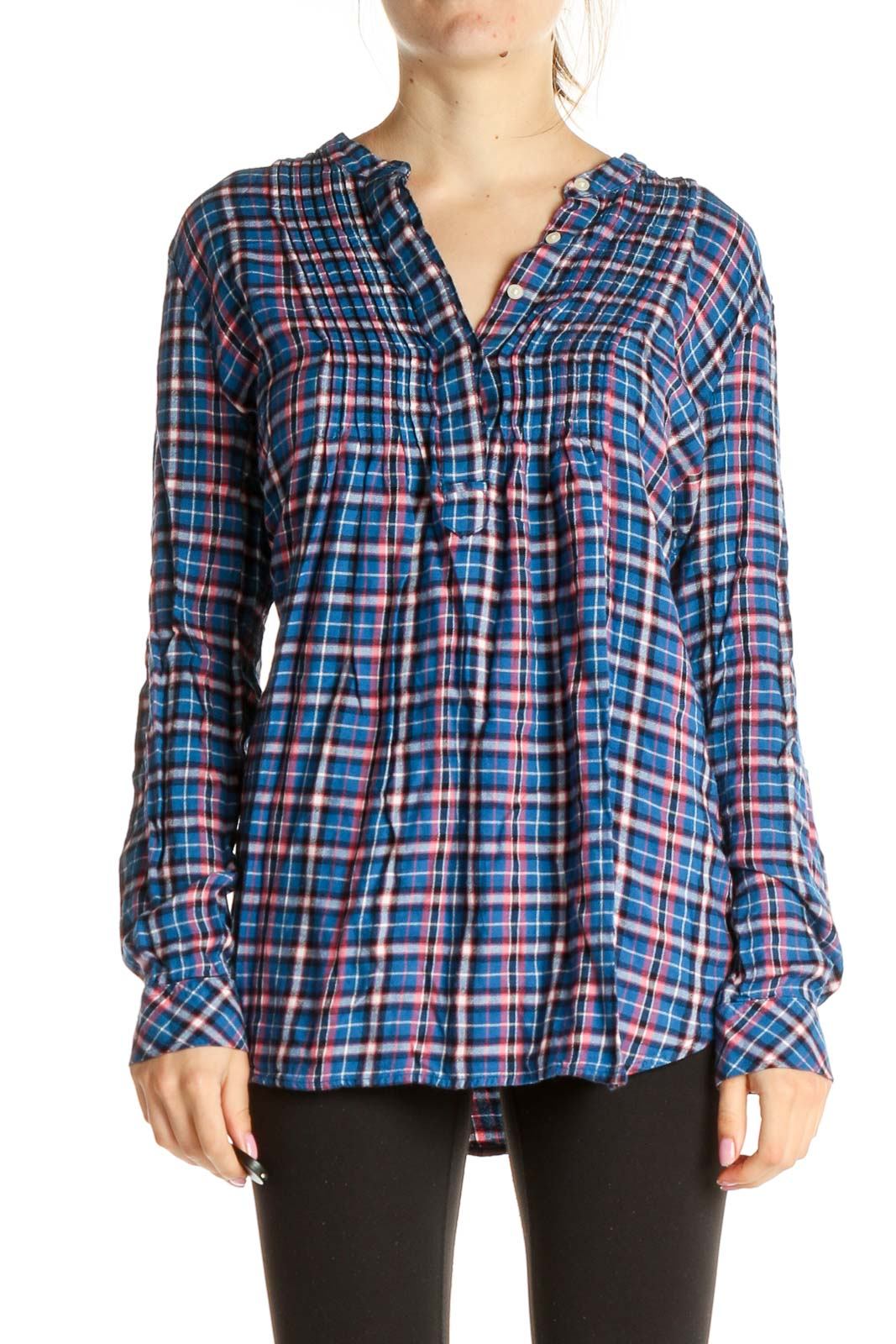 Blue Checkered All Day Wear Shirt Front