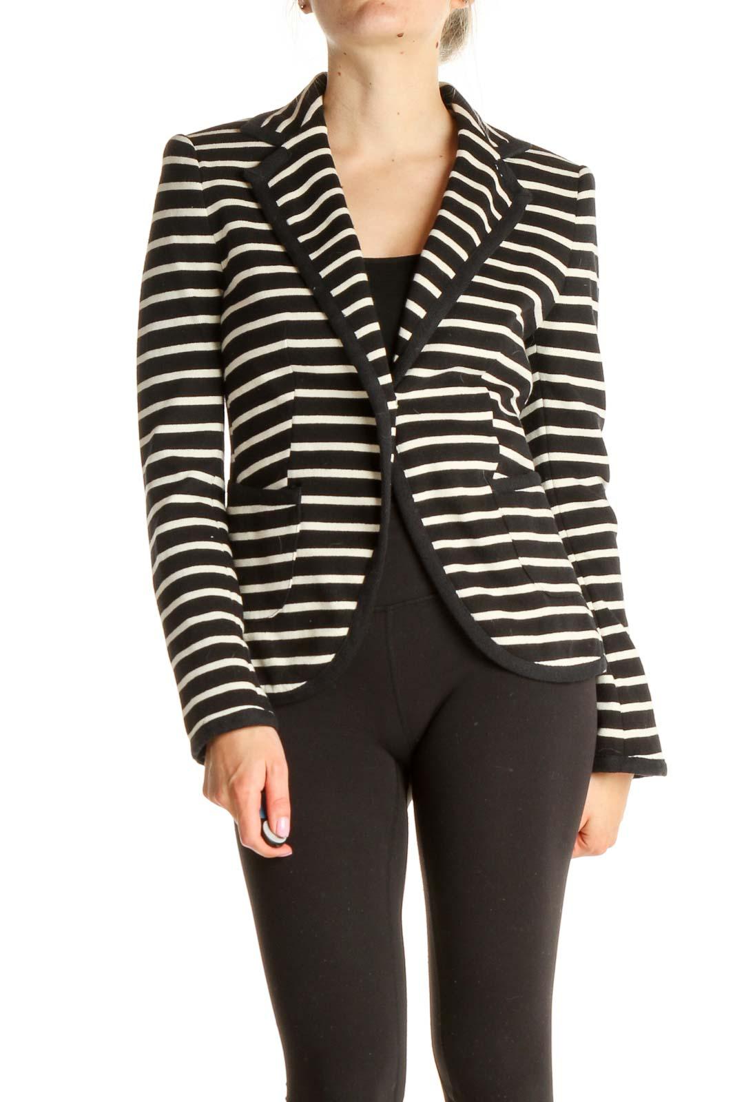 Black Striped Blazer Front
