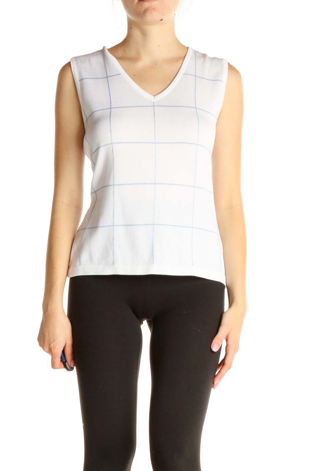 White Casual Vest Front