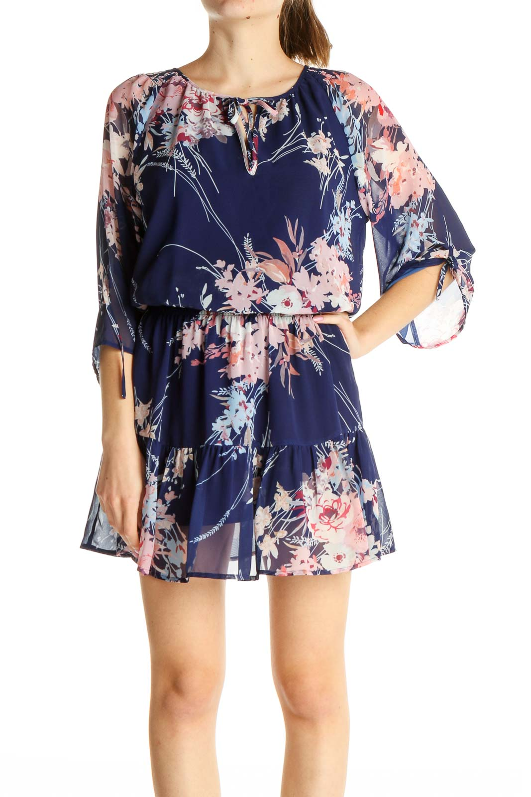 Purple Floral Print Day Fit & Flare Dress Front