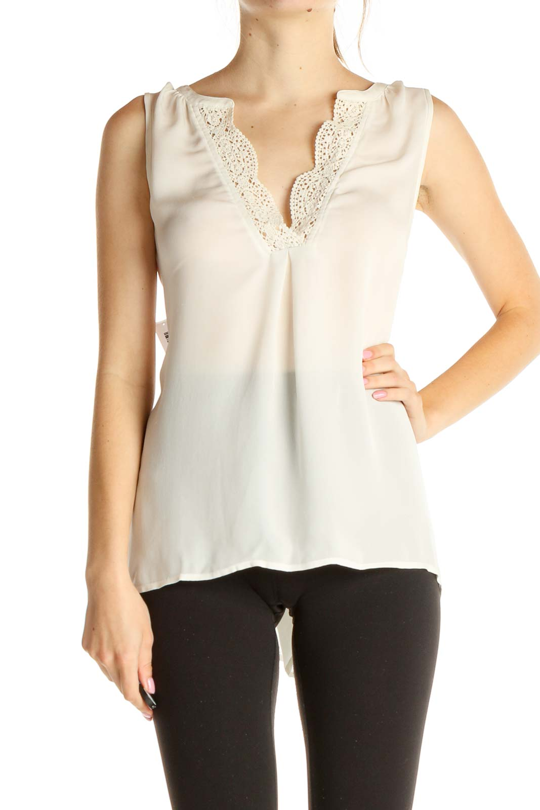White Solid Chic Blouse Front