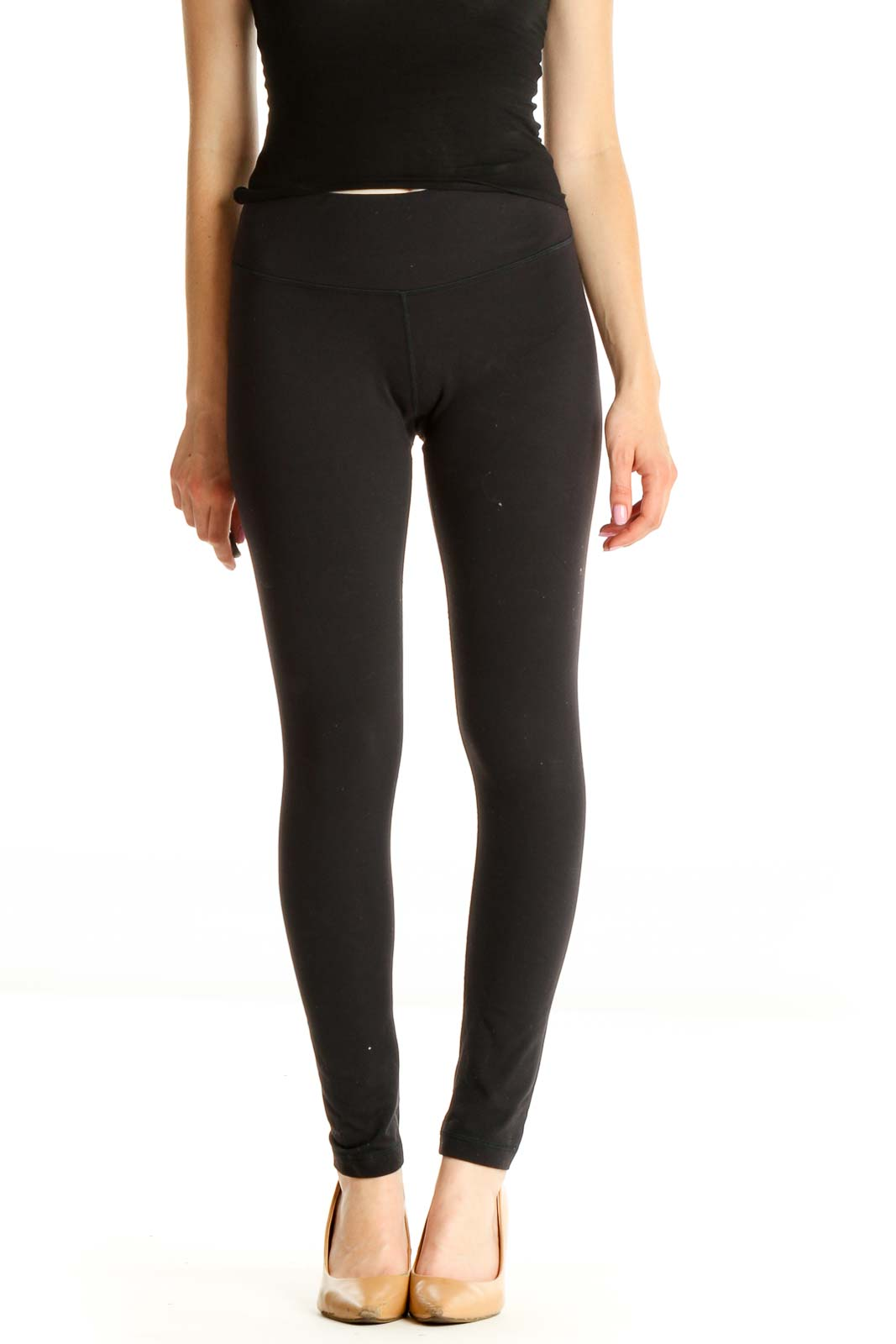 Black Solid Casual Leggings Front