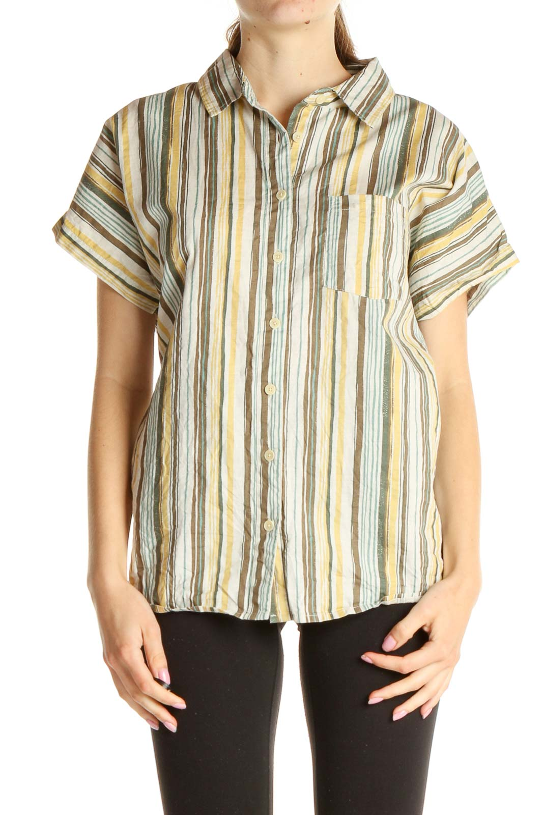 Beige Striped All Day Wear Shirt Front